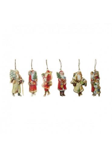 Nostalgie Santas 6er Set aus Metall zum Hängen klein