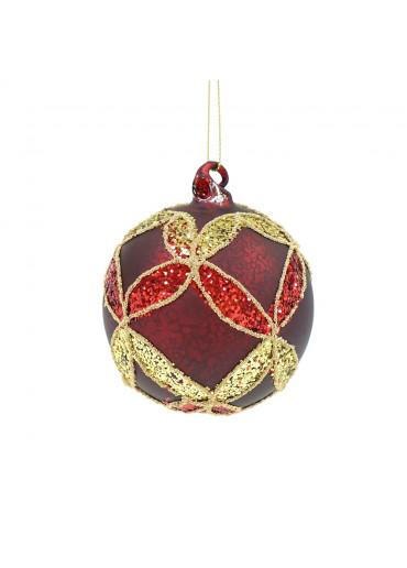 Glas Weihnachtskugel dunkelrot mattiert