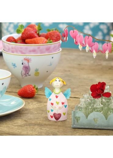 Engel Lotta mini zum Stellen rosa Herzchen mit Glitzer