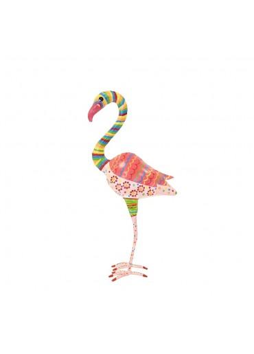 Metall Flamingo bemalt H 35 cm