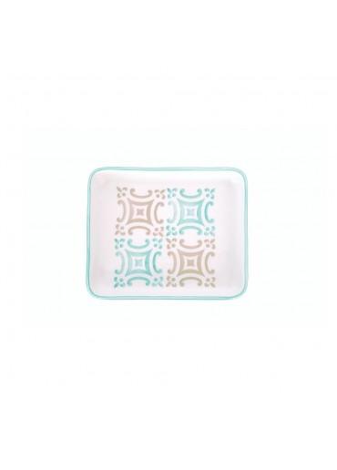 "Vista Portuguese Keramik Platte rechteckig ""Mosaik türkis"" small"