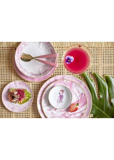 Rice Porzellan Suppen Teller Marble-Print Bubblegum Pink