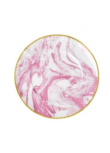 Rice Porzellan Kuchen Teller Marble-Print Bubblegum Pink