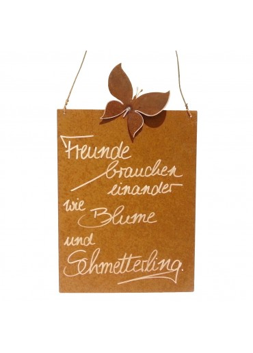 Rostige Spruchtafel M Schmetterling | Freunde & Blumen