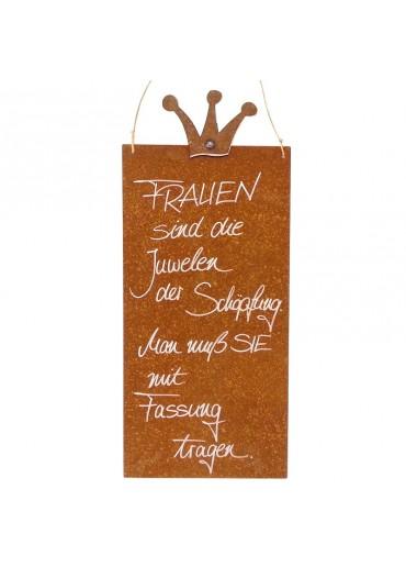 Rostige Spruchtafel L Krone | Frauen Juwel