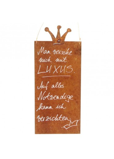 Rostige Spruchtafel L Krone | Luxus