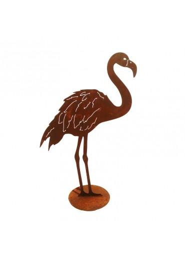Rostiger Flamingo stehend 2 Füße