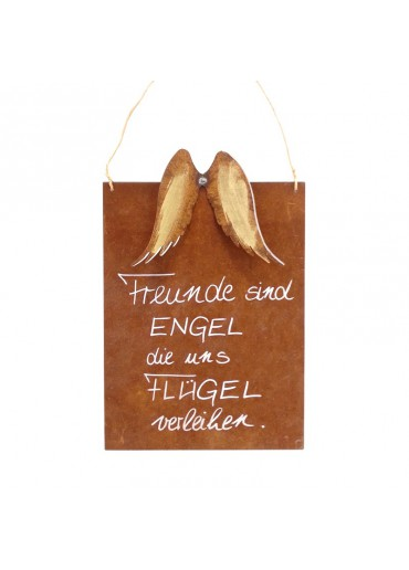 Rostige Spruchtafel M Flügel | Engel