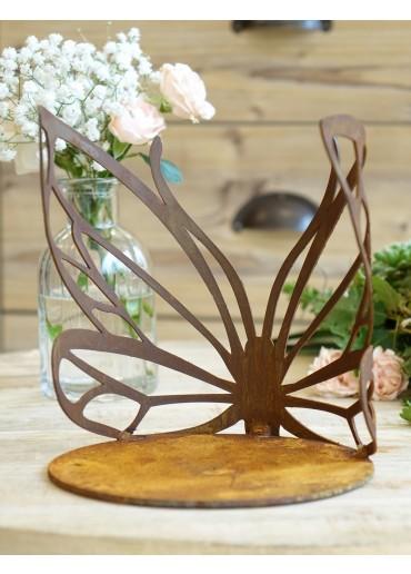 Edelrost Schmetterling mittel Windlicht gebogen mit Platte H18 cm