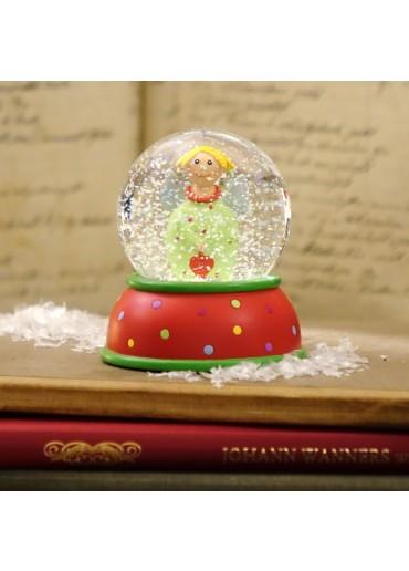 Schneekugel Engel Lotta hellgrün mit Glitter und Schnee