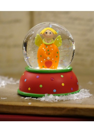 Schneekugel Engel Lotta orange mit Glitter und Schnee