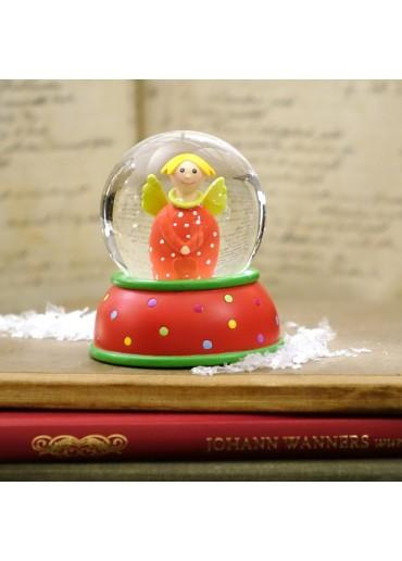 Schneekugel Engel Lotta rot mit Glitter und Schnee