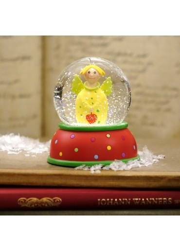 Schneekugel Engel Lotta gelb mit Glitter und Schnee