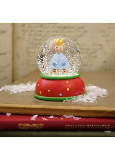 Schneekugel King hellblau mit Glitter und Schnee