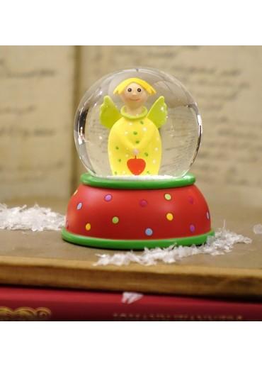 Schneekugel Engel Lotta gelb mit Schnee