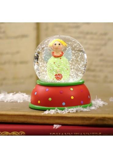 Schneekugel Engel Lotta hellgrün mit Schnee