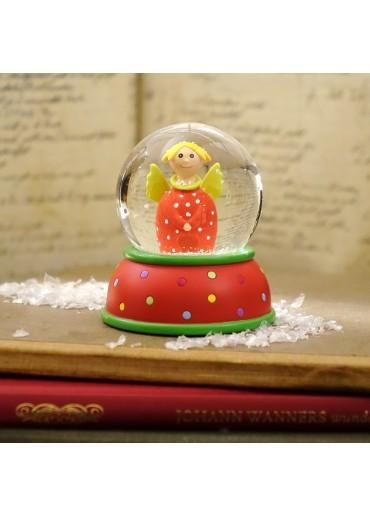 Schneekugel Engel Lotta rot mit Schnee