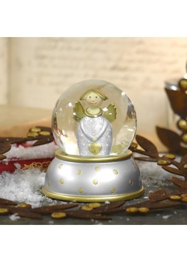 Schneekugel mit silbernem Engel Lotta von Pape