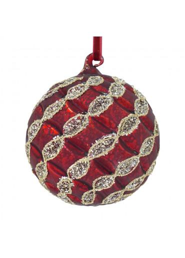 Christbaumkugel Rot matt mit silber Dekor