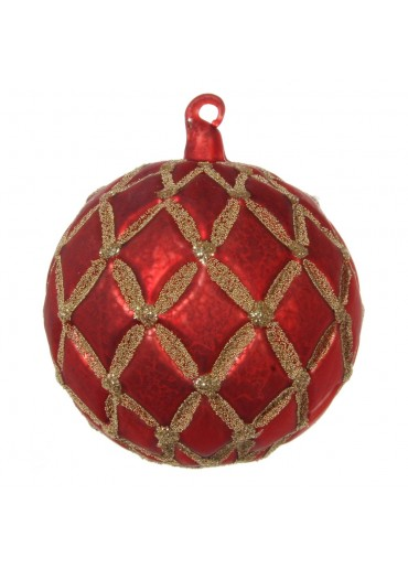 "Christbaum Kugel ""Coventry"" L rot/gold mattiert"