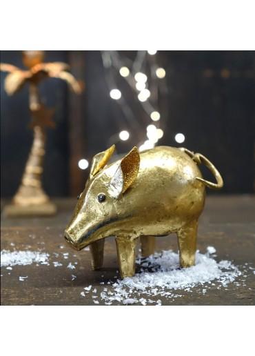 """Metall Spardose Schwein """"Sylvester"""" klein mit Schlaggold"""