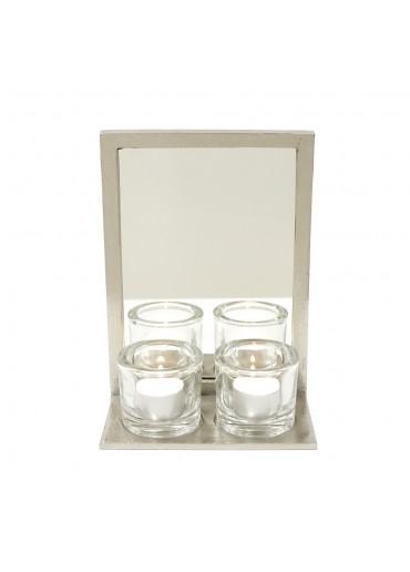 Spiegel-Leuchter Aluminium silbern vernickelt mit Gläser