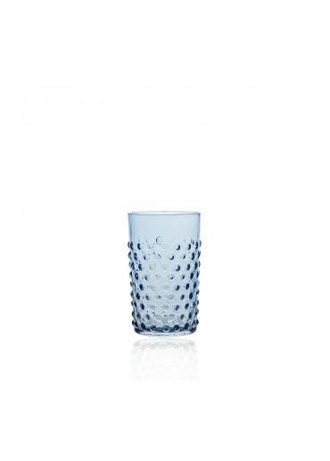 Hobnail Trinkglas mit Noppen rauchblau