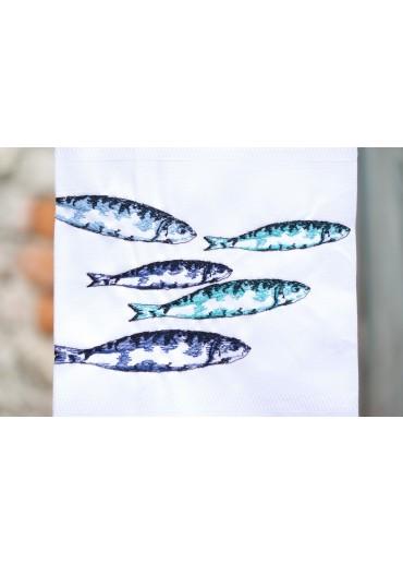 """Geschirrtuch """"blaue Sardinen im Schwarm"""" von Vista Portuguese"""