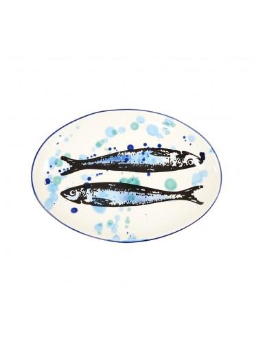 "Vista Portuguese Keramik Platte oval ""Sardine"" medium"