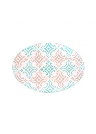 "Vista Portuguese Keramik Platte oval ""Mosaik türkis"" medium"