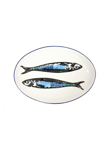 Vista Portuguese Keramik Platte oval mit Sardinen