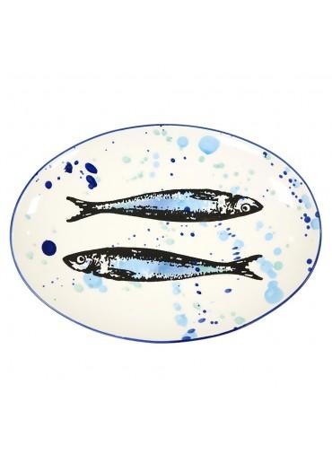 "Vista Portuguese Keramik Platte oval ""Sardine"" large"