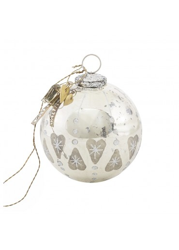 Walther & Co Christmas Bauble with Hearts antique silver