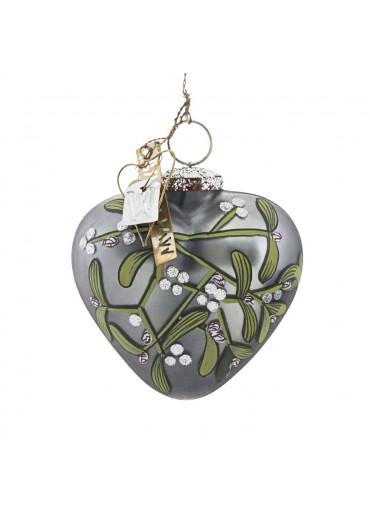 Walther & Co Glas Herz mit Mistelzweig grau-silber