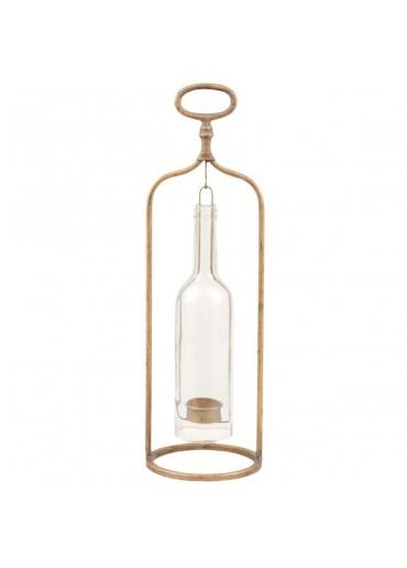 Windlicht Glasflasche gold groß H46 cm