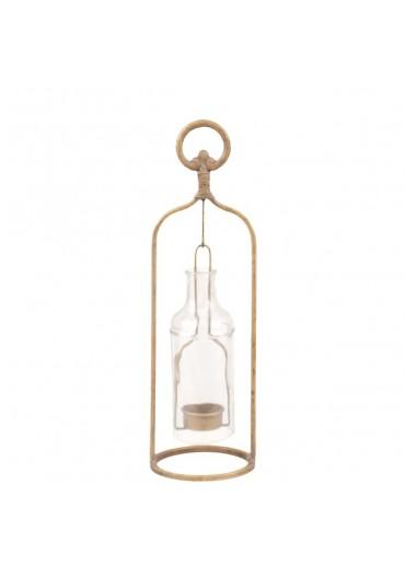 Windlicht Glasflasche gold mittel H36 cm