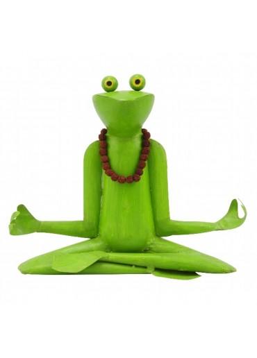 "Metall Frosch Yoga ""Lotus"" offen"