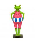 Metall Frosch mit Badeanzug und Rettungsring