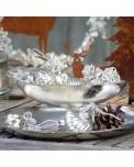 Silber vernickelte Jardinière mit nostalgischen Christbaumkugeln