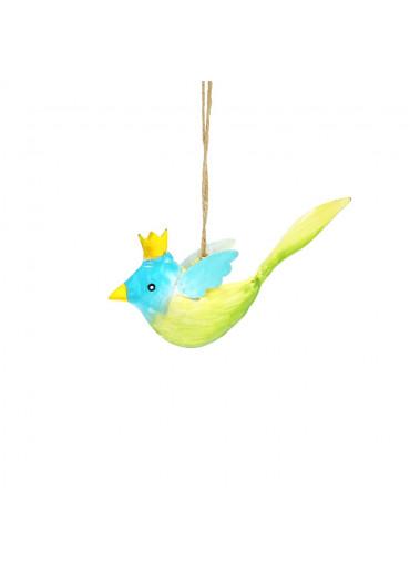 Metall Vogel mit Krone mini zum Hängen (113011)