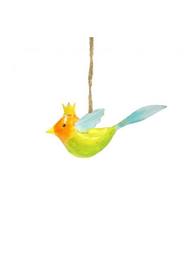 Metall Vogel mit Krone mini zum Hängen (113008)