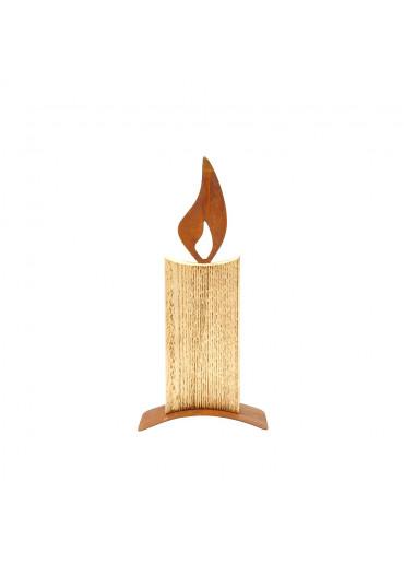 Holz Kerze mit Edelrost Flamme H 38 cm