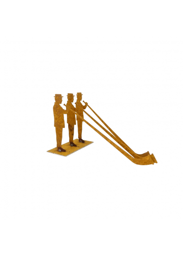 Edelrost Alphornbläser Trio auf Platte klein H 11,5 cm