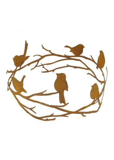 Edelrost Astring mit Vögeln Ø 35 cm