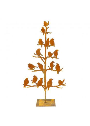 Edelrost Baum mit Vögeln H 65 cm