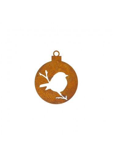 Edelrost Christbaumkugel geschlossen mit Vögelchen Ø 10 cm