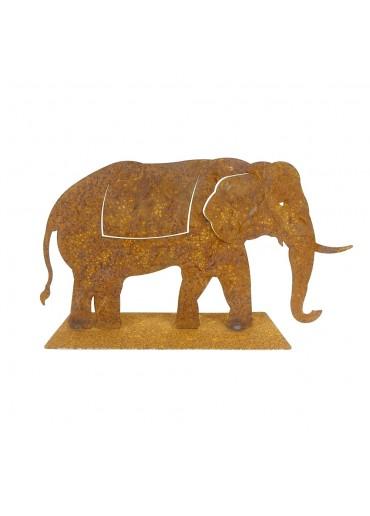 Edelrost Elefant auf Platte groß