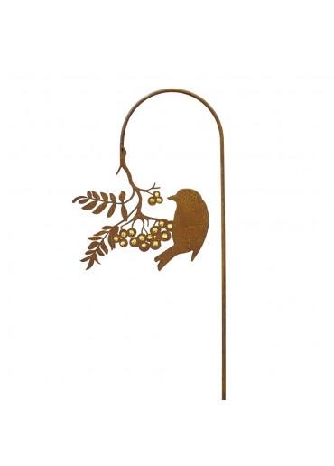 Edelrost Gartenstecker Vogel pickend an Goldbeerenast H137 cm