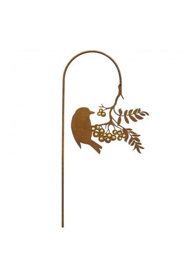 Edelrost Gartenstecker Vogel pickend an Goldbeerenast H118 cm