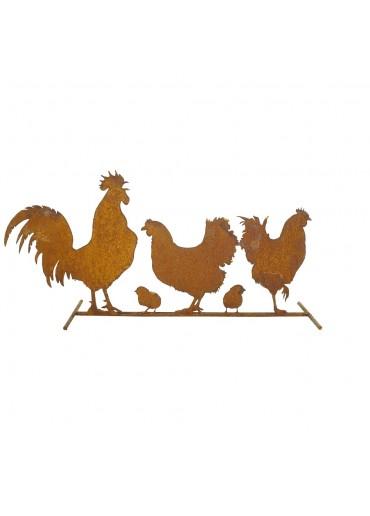 Edelrost Hühner Familie auf Stange B 65 cm
